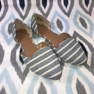 Report Blue White Striped Avery D'orsay Wide Flats